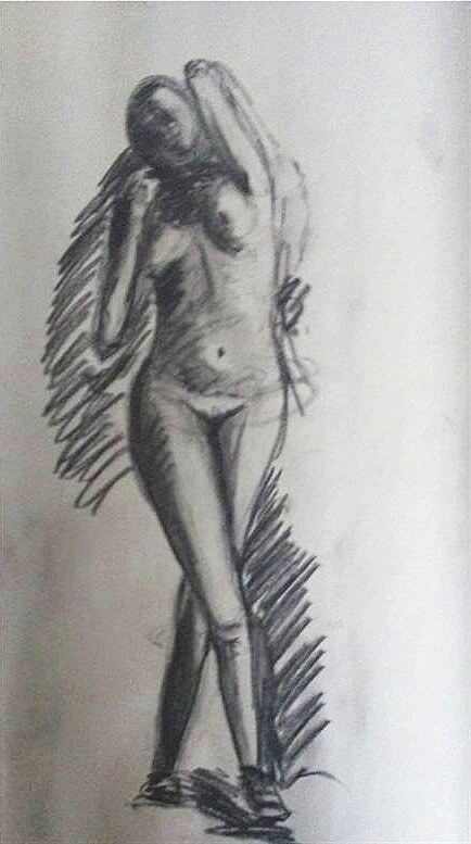 "Mass Gesture Drawing    Charcoal           24"" x 18"""