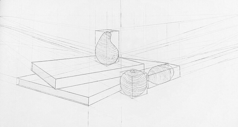 "Planar 2 point Linear Perspective   22.5"" x 30"""