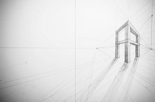 "Linear Perspective Drawing   #2HB Pencil   18"" x 24"""