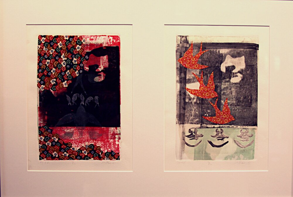 "Paper Lithograph, Chine-Colle, and MonoPrint                    11"" x 6"" (2)"