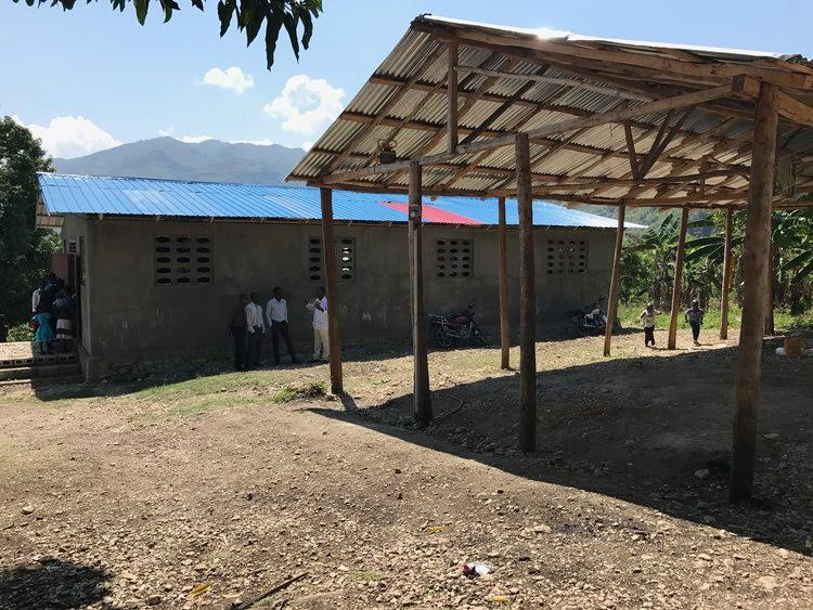 Pictured here is the newly built church and facility used for bracelet assembly in Lascahobas,Haiti.