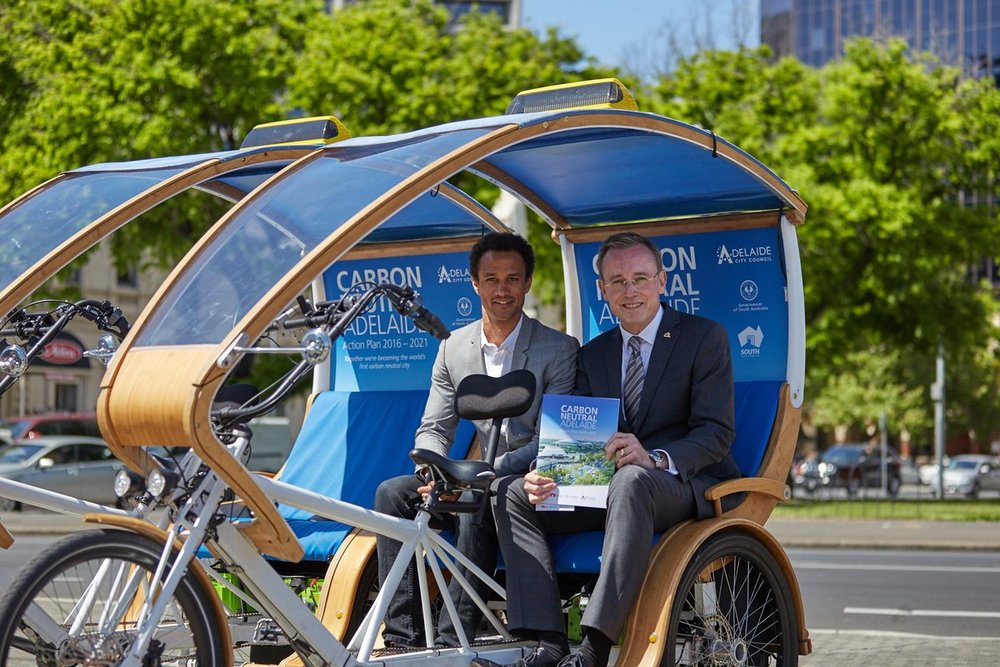 The Honourable Lord Mayor of Adelaide, Martin Haese with EcoCaddy Founder Daniels Langeberg for the launch of Carbon Neutral Adelaide
