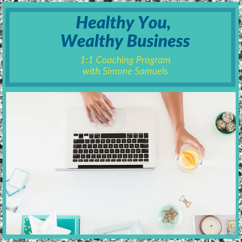 Healthy You, Wealthy Business 1:1 Coaching package for stressed out entrepreneurial women to get back on top of their game.