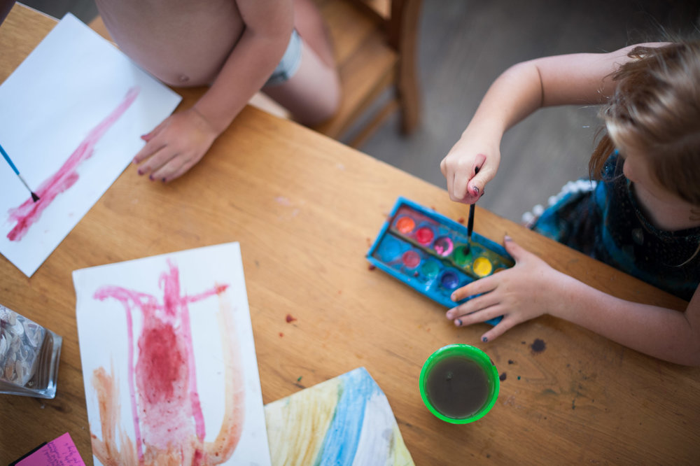 Messy kids painting