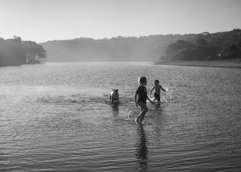 Kids running through lake with dog