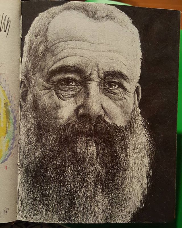 ballpoint portrait of mr. lily pads monet that i finished years ago but never posted whoops~  8/31/18 8:12am  #pendrawing #monet #ballpointpen #portrait #art #artistsoninstagram