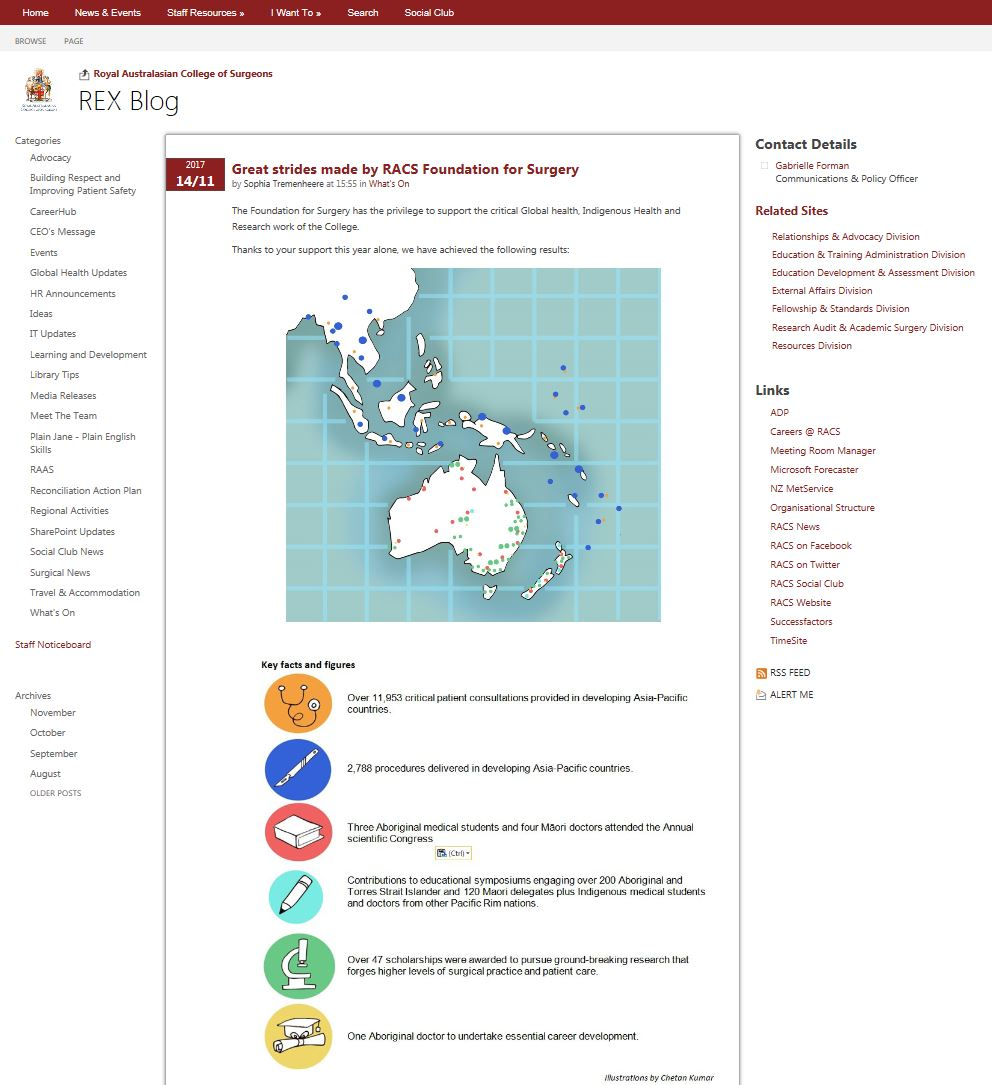 A Map and illustrated icons for the Royal Australasian College of Surgeons, Melbourne, Australia. The map was used to illustrate the positive impact the charitable arm of the college-Foundation for Surgery, has made in the region through scholarships for Indigenous students, consultations and procedures for deprived communities.