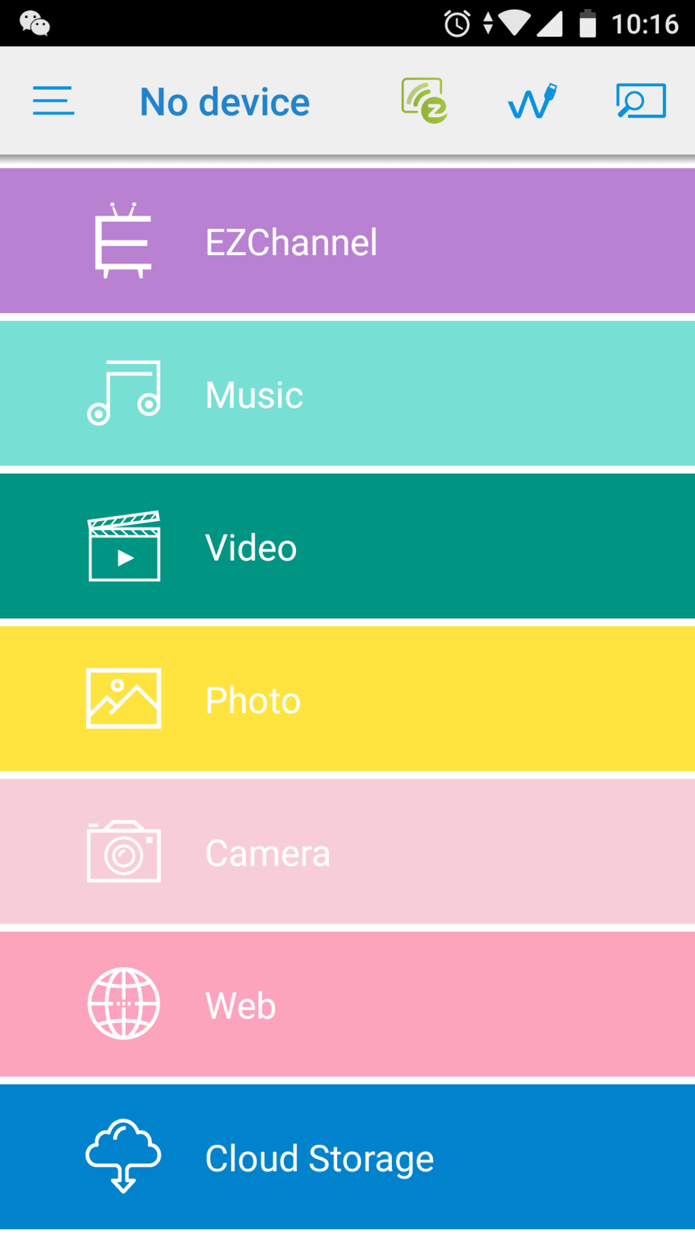 A list of key features for EZCast app.