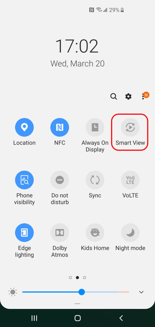 Select Smart View to screen mirror to EZCast 2 wirelessly.