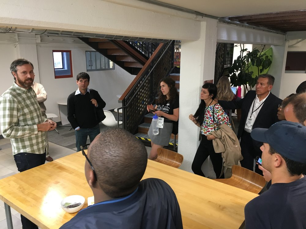 The group visits Impact Hub San Francisco to learn more about this co-working model and community.