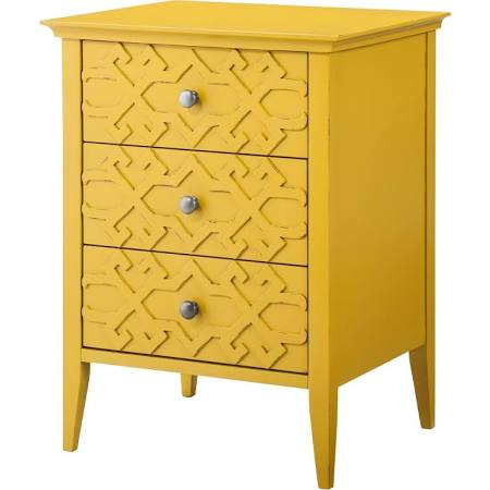 I'm in love with the color. I just did a quick search for nighstands, and this came up. It's sold at Target for $85.