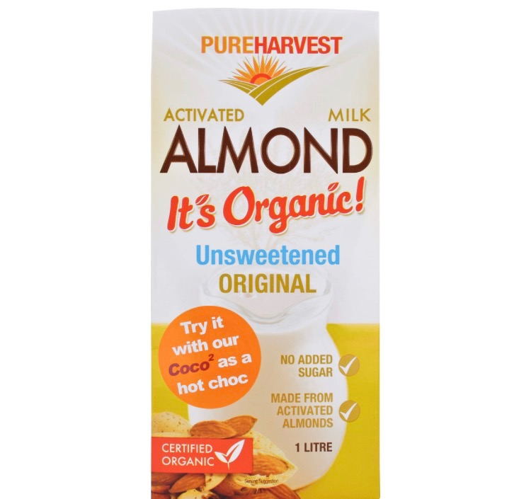 This Pure Harvest activated almond milk has one of the highest almond to water ratios & is certified organic.