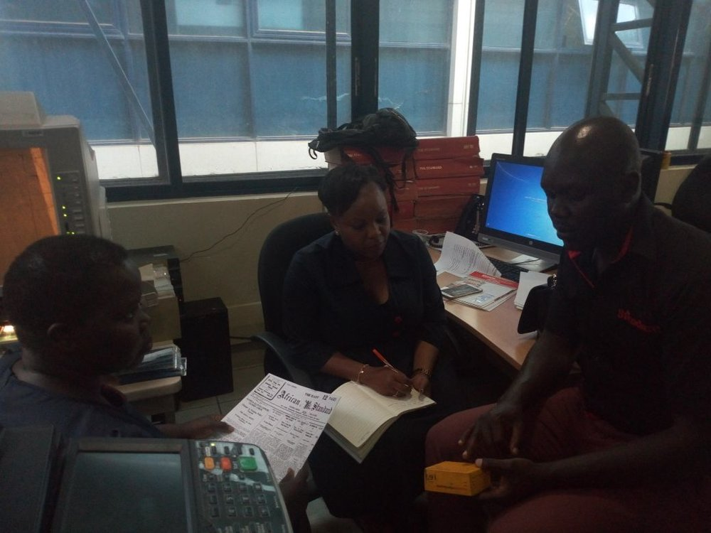 Susan and Mary visiting Standard Media Group in Nairobi to discuss the exhibition..