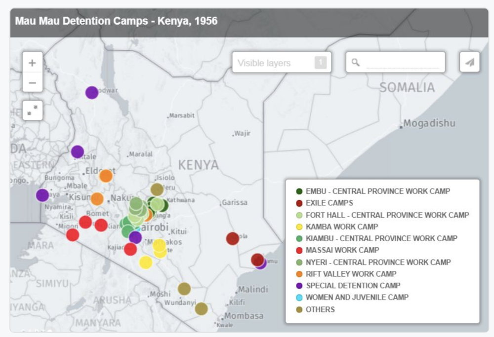 Preliminary Map Showing Detention Centres Throughout Kenya in the 1950s