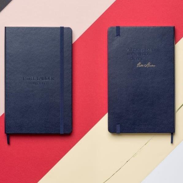 Classic prussian blue Moleskine notebook for Estée Lauder #esteelauder #notebooks