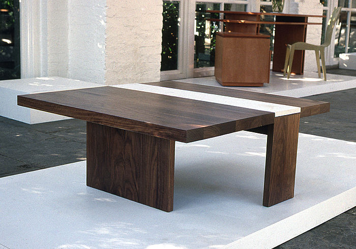Walnut Coffee Table with Limestone