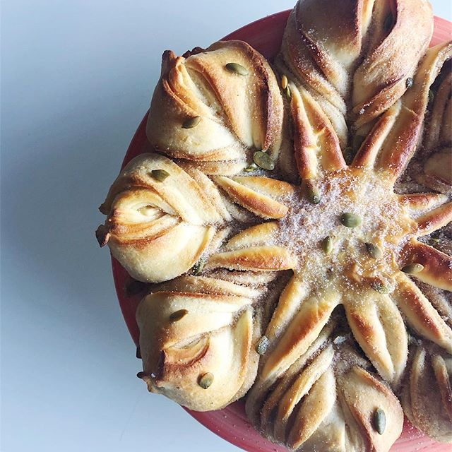 Our ode to the humble pepita continues with this delicate star bread - flavored with our aged vanilla sugar, cinnamon, and candied pepitas. Special-order only. . . . . #starbread #dessert #foodie #foodporn #desserts #dessertporn #pumpkinseeds #holiday #food #baker #baking #bread #homemade #pastry #breadmaking #buzzfeast #pepitas #artisan #feedfeed #huffposttaste #foodgawker #thekitchn #sweetmagazine #droolclub #foodprnshare #holidaybaking #newmexico #forkfeed #trueABQ