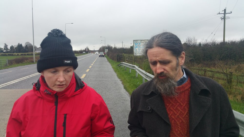 Luke Ming Flanagan MEP speaks to Vera Twomey on her walk from Cork to Dublin