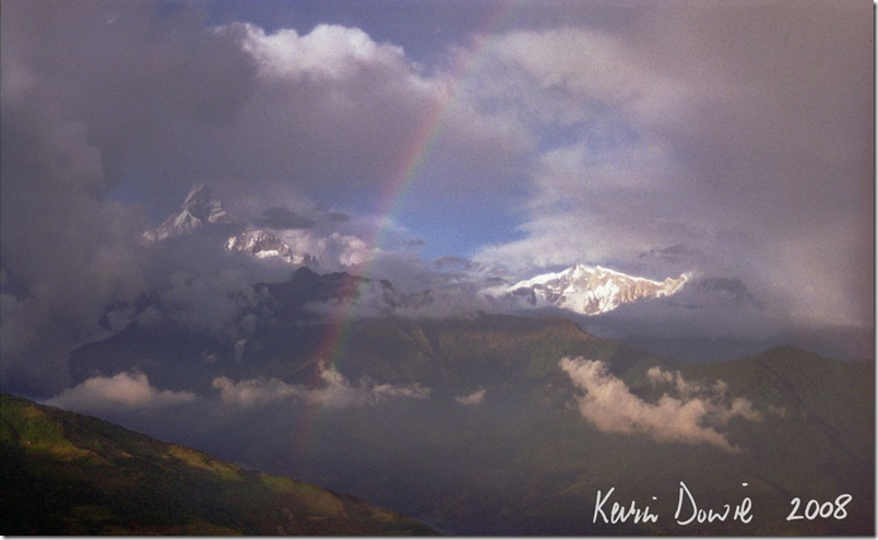 Mountains, clouds and rainbow, Nepal