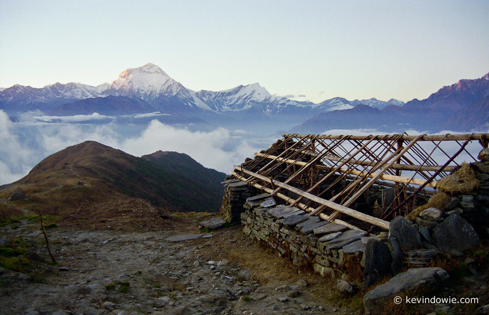Shepherd's hut and Dhaulagiri, Nepal