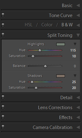 Lightroom split tone settings.