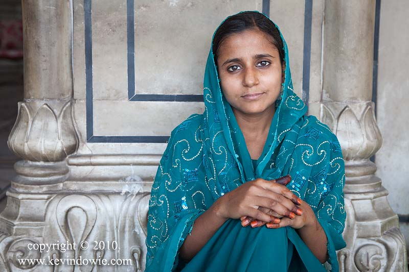 Girl in a blue scarf, Delhi.