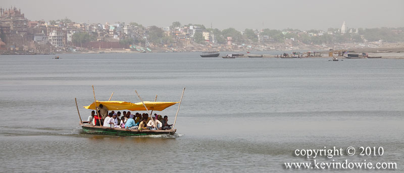 Boatful of people, Ganges River at Varanasi.