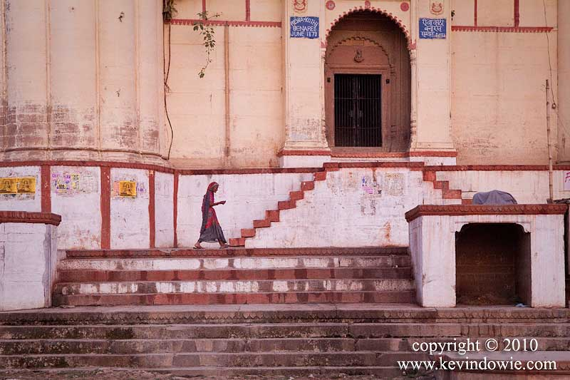 Woman and staircase, Varanasi