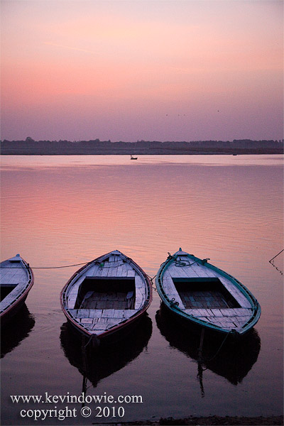 Boats at sunrise, Varanasi, India