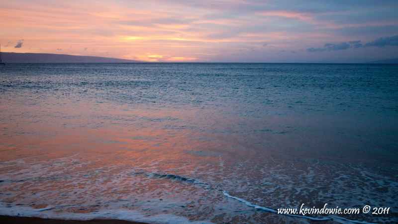 Sky colours reflected on water, Ka'anapali Beach, Maui
