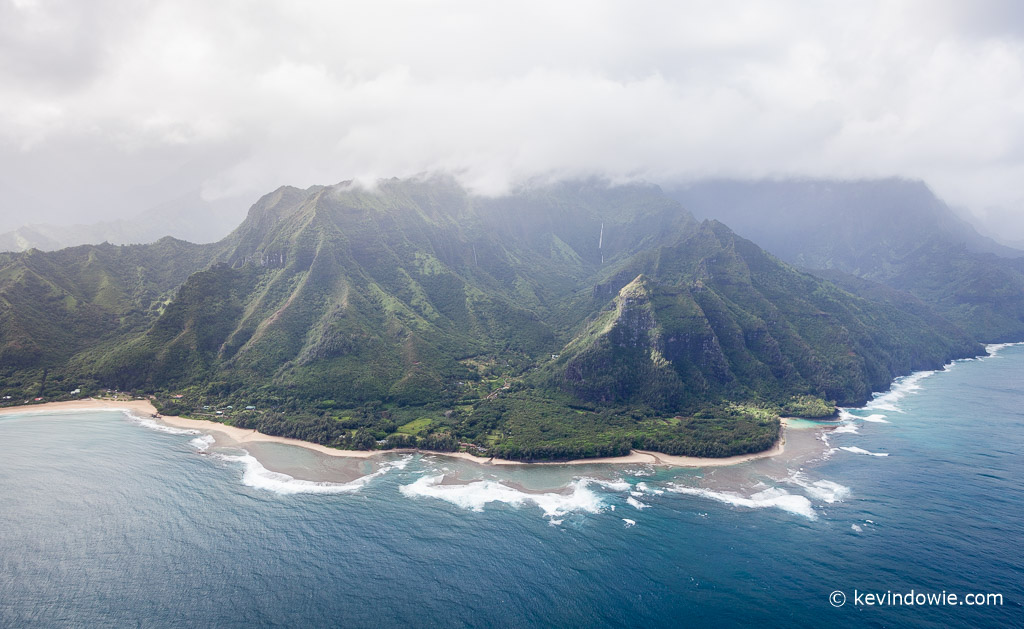 Kaua'i coastline from the air