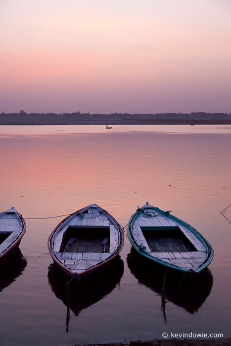 Boats on the Ganges at sunrise, Varanasi, India.