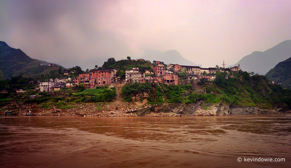 Riverside town, Yangste River, China.
