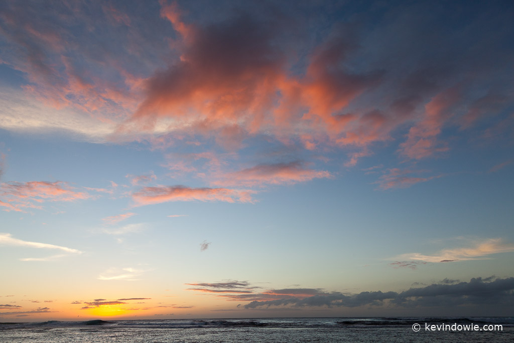 Sunset and clouds, Ke'e Beach, Kaua'i