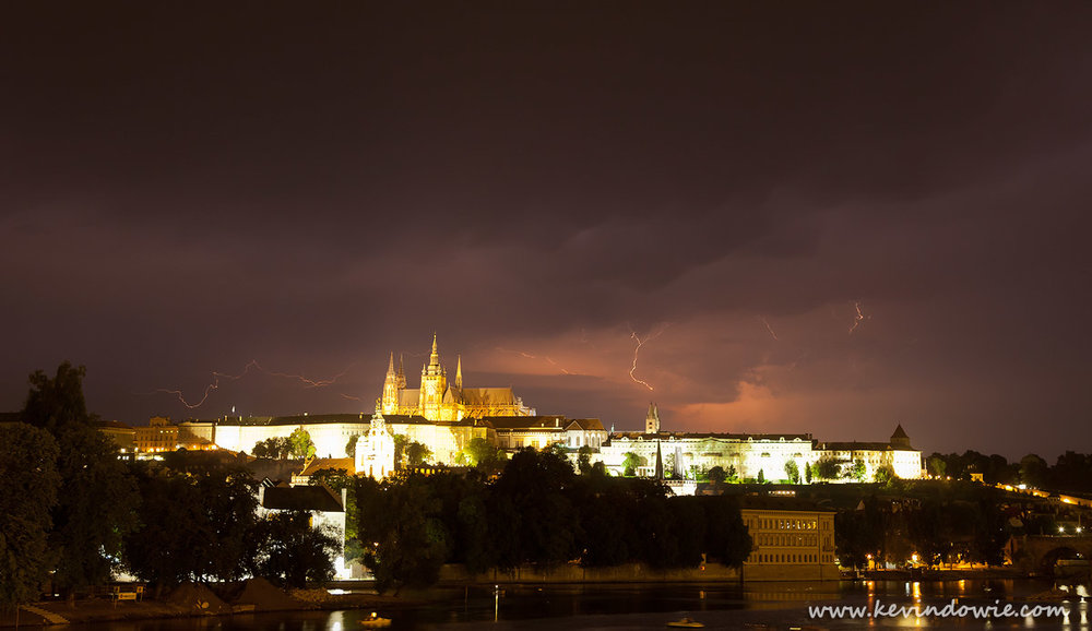 Lightning over Prague Castle, Czech Republic.