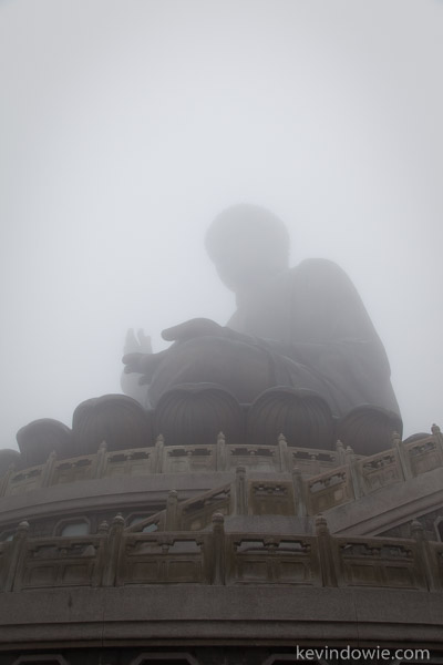 Shrouded in fog, the Giant Buddha