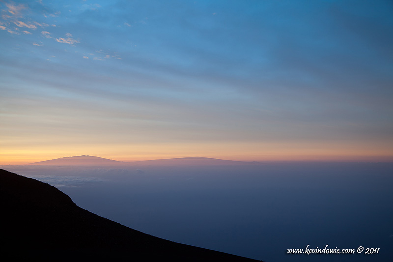 The Big Island of Hawaii from Haleakala Summit at sunrise.