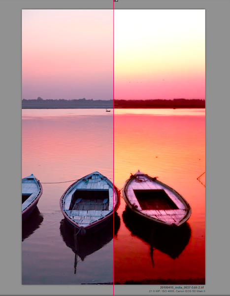 Boats on the Ganges, Varanasi. Before and after