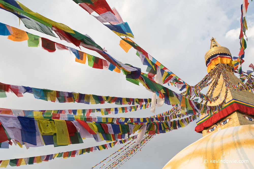 Eyes and prayer flags, Boudhanath Stupa, Kathmandu