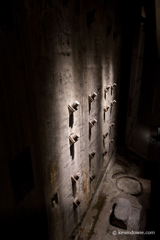 """The original """"slurry wall"""" preserved within the museum. The wall was installed in order to prevent water seepage into the base of the original towers."""