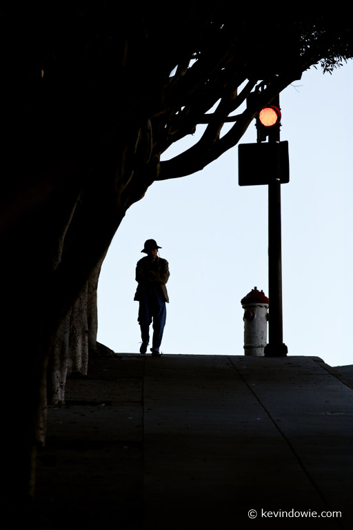 Silhouetted man in hat.     San Francisco, USA