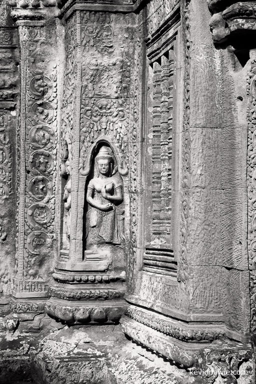 Bas-relief, an apsara or celestial maiden. Ta Prohm.