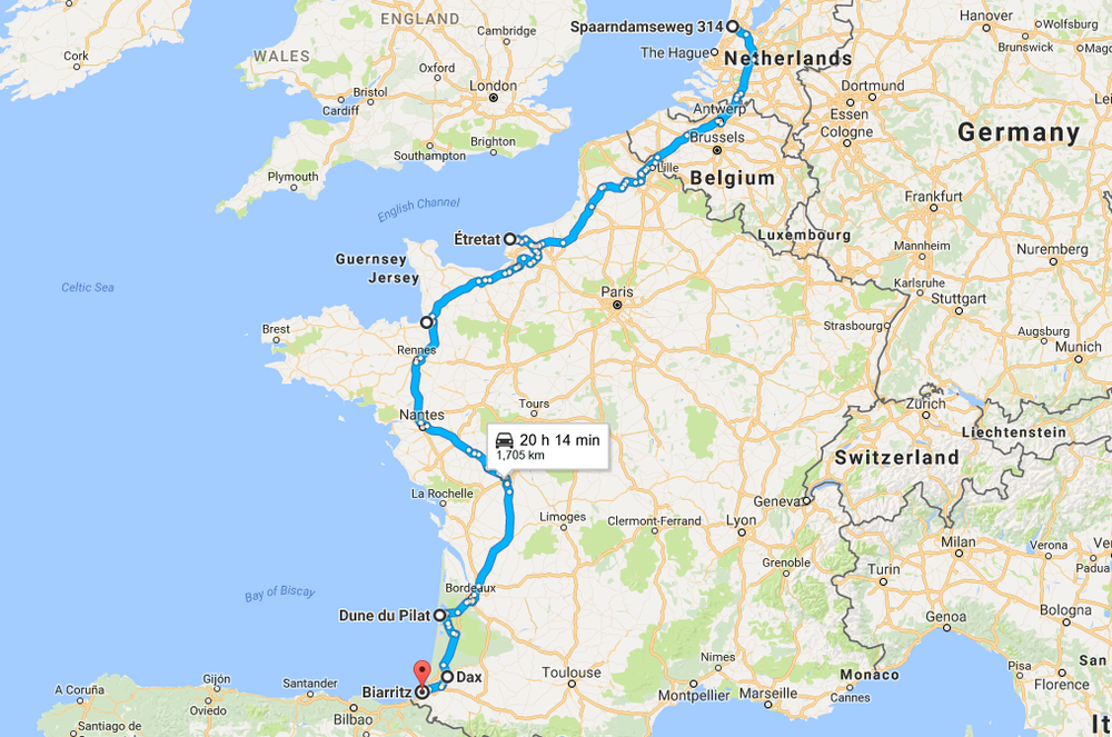 MOTORHOME LIVIN Feeding Soul - France driving distances map