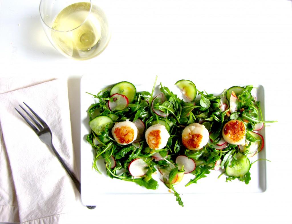 recipe, gluten-free, salad, recipe, seafood, scallops