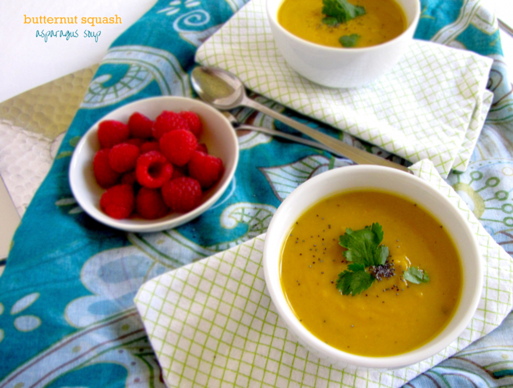 butternut squash soup with asparagus, butternut squash soup, vegan soup, gluten-free soup, dairy free recipe, recipe, recipes, recipe of the day