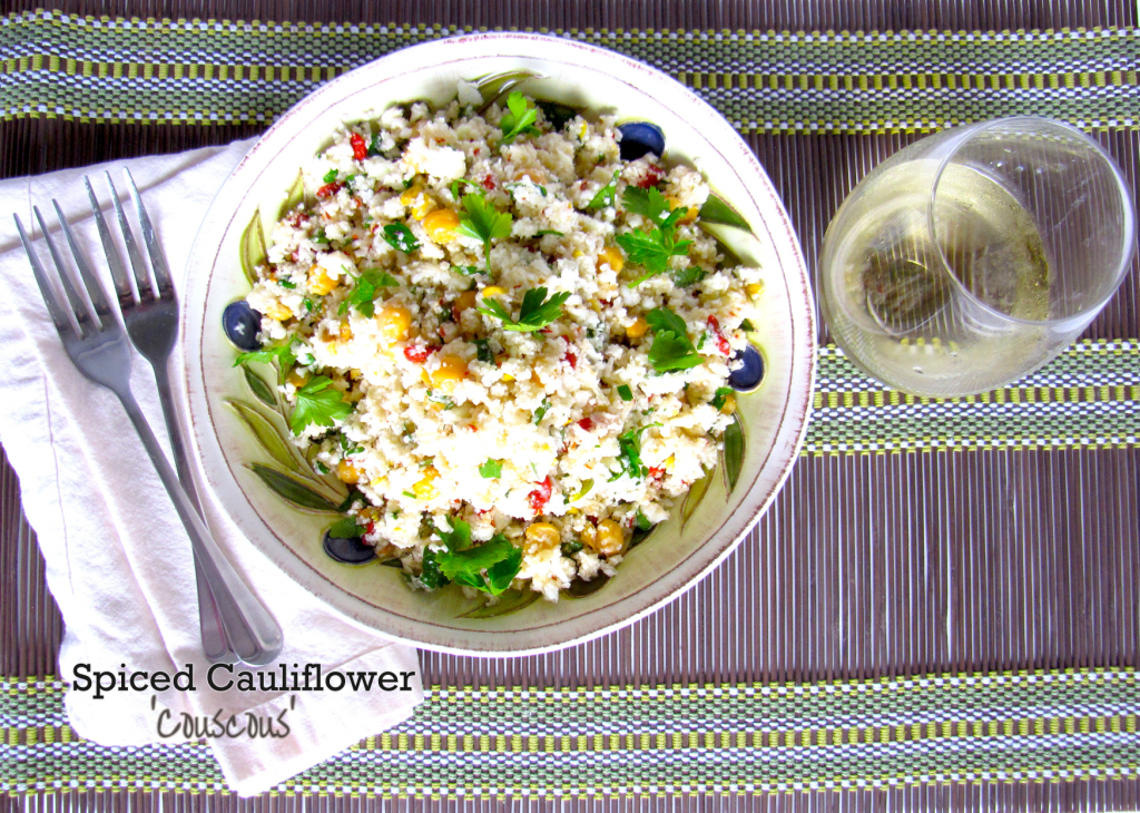 spiced cauliflower couscous, gluten-free, began, vegetarian, healthy recipe, gluten-free recipe,