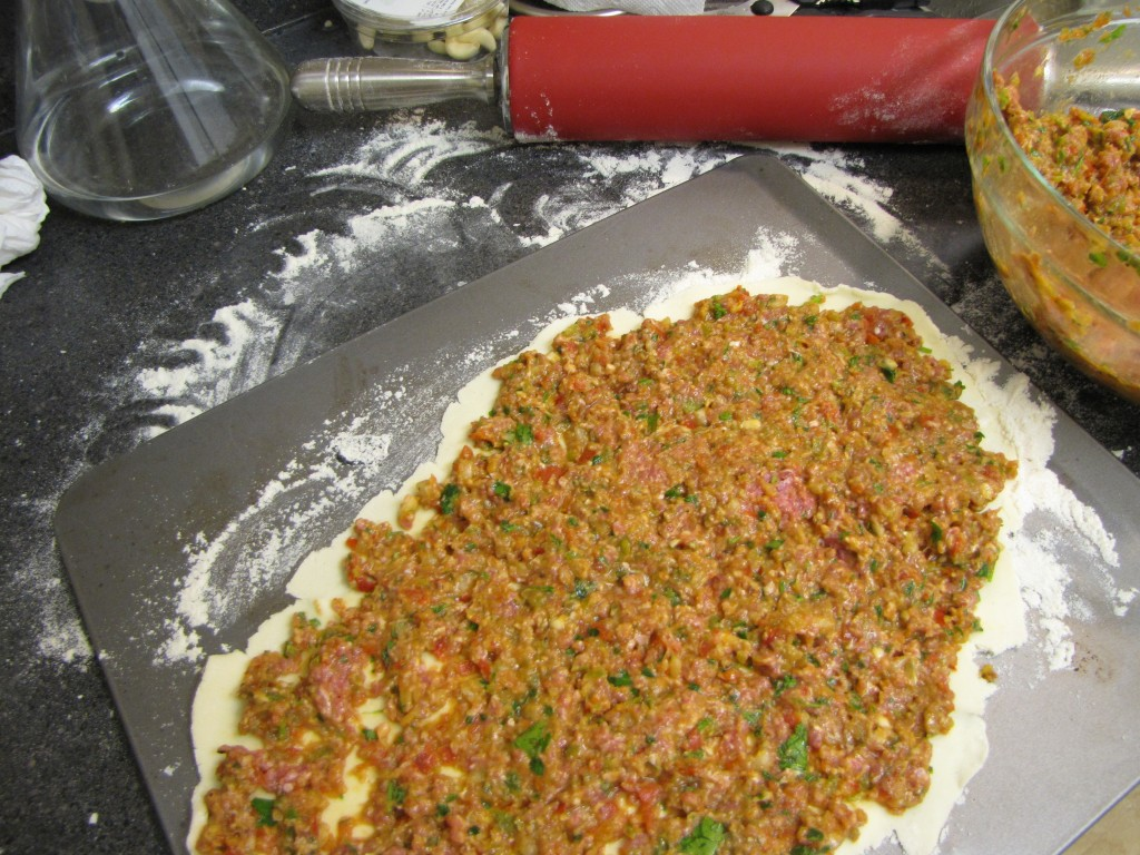 Turkish Flat Bread Lamb Pizza,