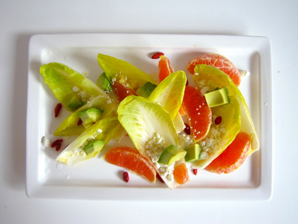endive salad, endives, cara cara oranges, goji berries, lemon vinaigrette, avocado, seasonal, fare, gluten-free, vegetarian