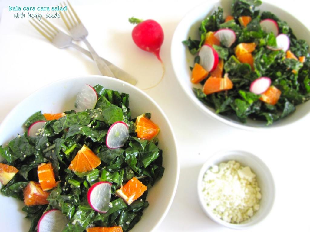 Kale Cara Cara Salad with Hemp Seeds, kale salad, summer salad, spring salad, healthy, recipe, gluten-free, gluten-free recipe, vegan, vegan recipe, hemp seed, hemp seed recipe, recipe with hemp seed