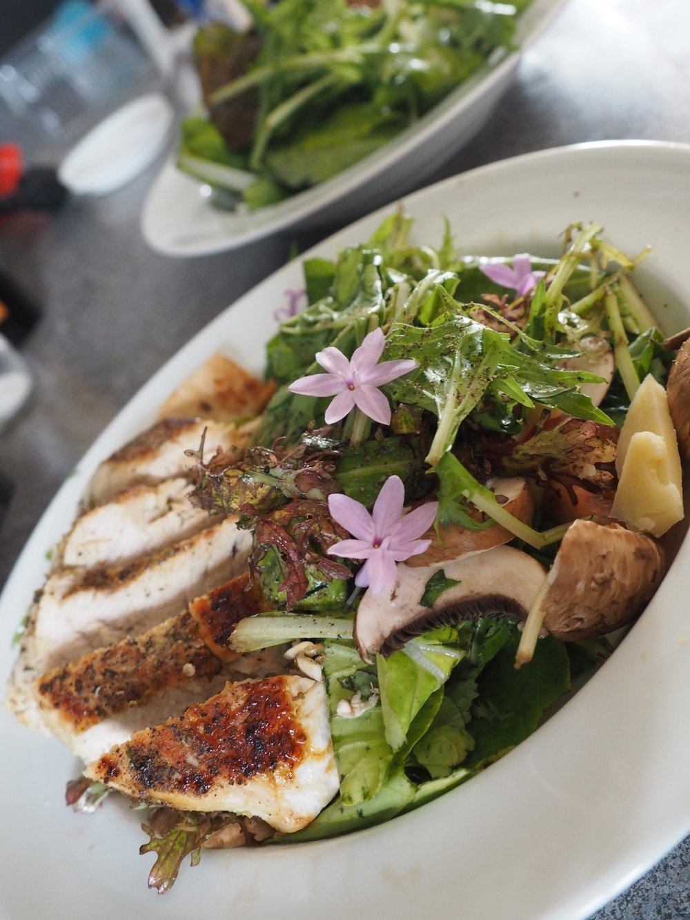 Grilled Chicken Salad with Edible Flowers